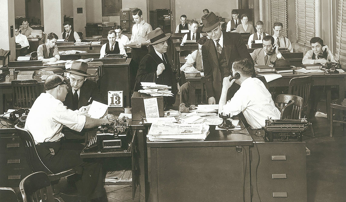 The St. Louis Globe-Democrat city room in 1938 -- no, I'm not that old! But I did work with quite a few of the folks pictured. The man to the right of the door in the background is Howard Vogt. Howard was the manager for the photo department for many of the years I worked at the Globe. The chief photographer at that time is Pete Hangge (man with hat in the center of the photo). The man in the hat to the left of the calendar is rumored (but not confirmed) to be George A. Killenberg. George was managing editor of the paper when I worked at the Globe and was the person who took a chance on hiring me when I was only 19 years old. This photo comes by way of former Globe-Democrat reporter Margaret Sheppard who passed the image on to other Globe staffers via her email list. Former Globe-Democrat feature writer Susan Fadem obtained the actual photo from Herb Waeckerle.
