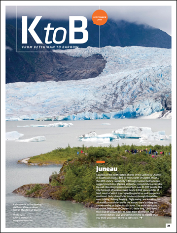 Tearsheet from the Sept., 2014 edition of Alaska magazine showing tourists at the Mendenhall Glacier
