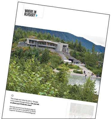 "page from Alaska magazine feature, ""Where in Alaska?"""