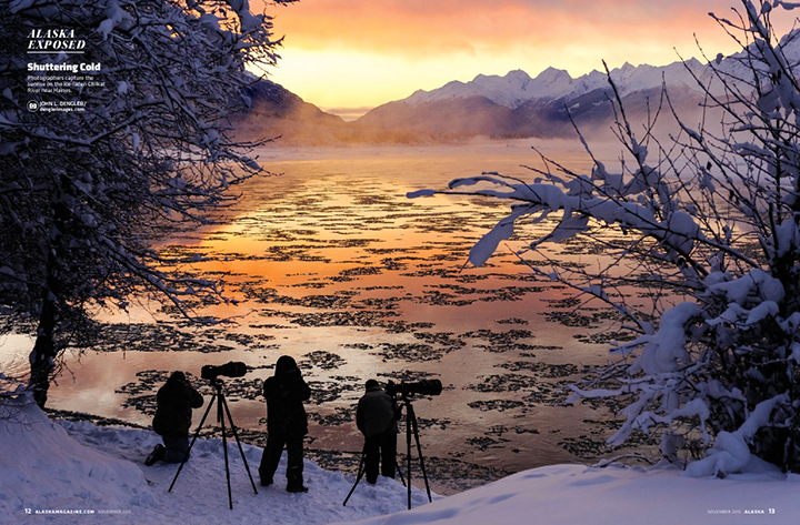 Photographers on the Chilkat River at sunrise