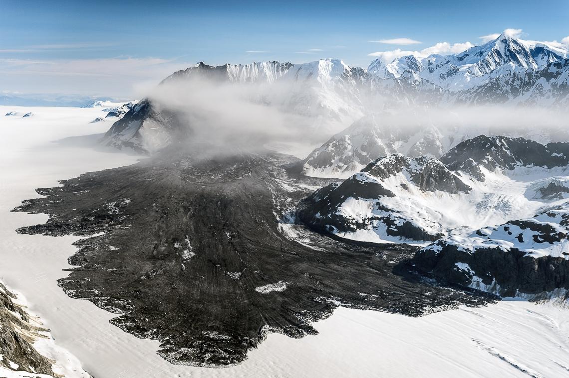Massive landslide pours onto Lamplugh Glacier